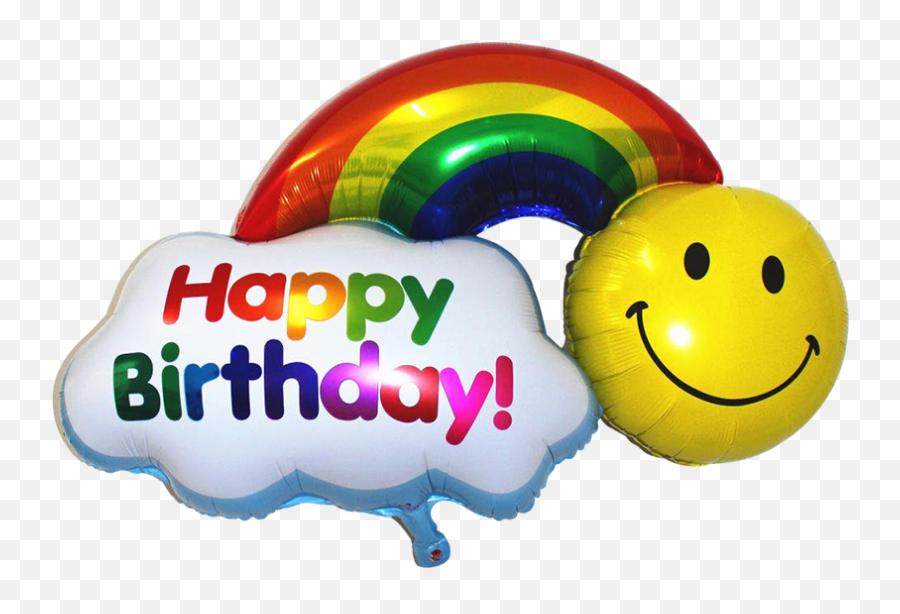Inch Happy Birthday Rainbow Smiley Foil Balloon - Rainbow Birthday Balloon Decoration Emoji