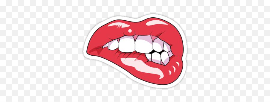 Lip Bite Sticker - Bite Lip Design Emoji