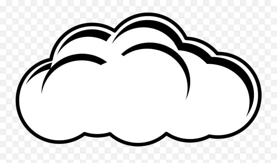 Free Heaven Angel Vectors - Cloudy Clipart Black And White Emoji