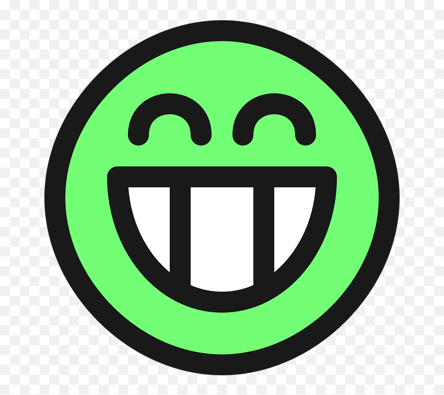 Grin Smiley Emotion - Green Very Happy Face Emoji,Laughing Emoji Meme