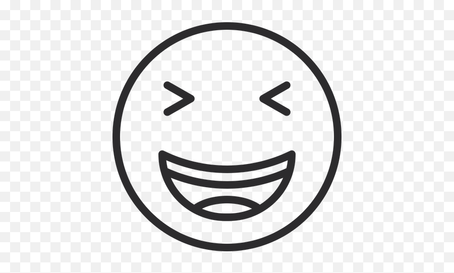 Grinning Squinting Face Emoji Icon Of Line Style - Illustration