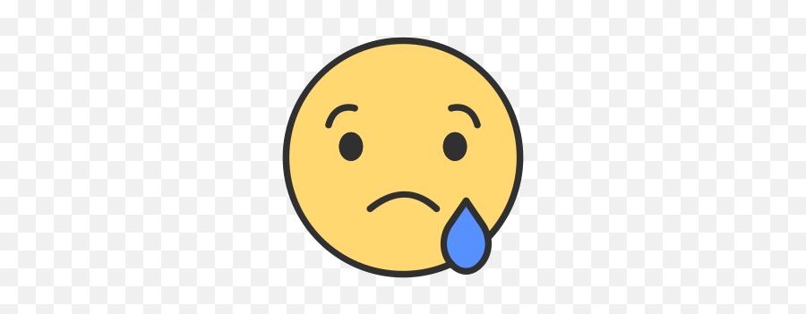 Facebook Smiley Icon At Getdrawings - Facebook Reactions Sad Png Emoji,Crying Emoticon
