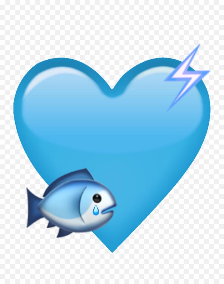 Download Hd Blue Heart Emoji Fish Electric Electricity Cute - Blue Emoji Heart Png