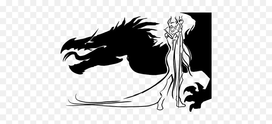 Evil Queen And Dragon Silhouette - Sorceress Clipart Black And White Emoji,Crown Emoticon