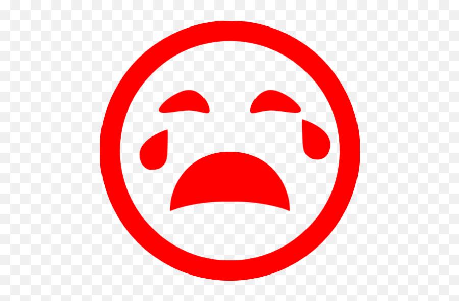 Red Crying Icon - Sad Sad Face Crying Icon Emoji,Crying Face Emoticon