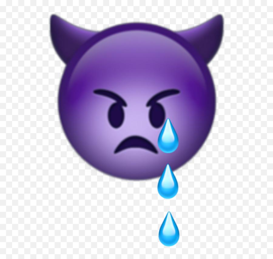 Milukyun Iphone Iphoneemoji Emoji Emojis Devil Cry Tear - Purple Devil Emoji Crying,Emoji Cry