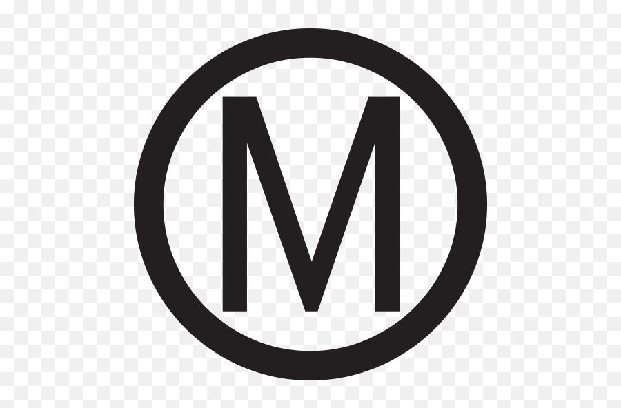 Circled Latin Capital Letter M Emoji - Letter M With Circle,\m/ Emoji