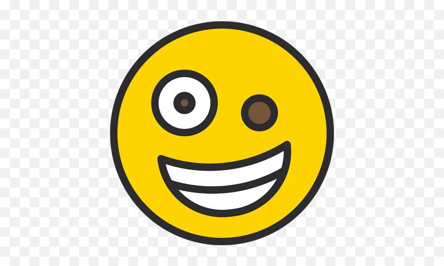 Zany Face Emoji Icon Of Colored Outline Style - Smiley,Zany Emoji