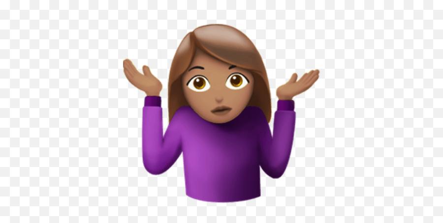 Shrug Female Emoji Transparent Png - Girl Emoji With Hands