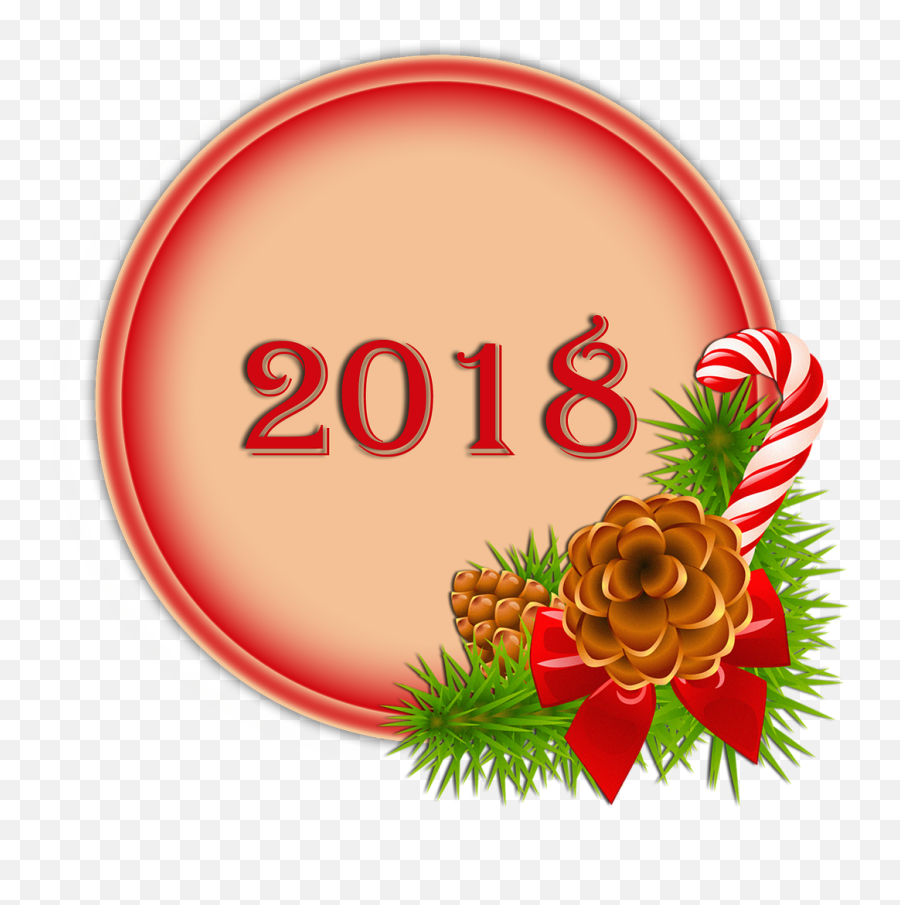 Happy 2018 Button Christmas 2018 Transparent Background - Pine Cone Borders Clipart Emoji