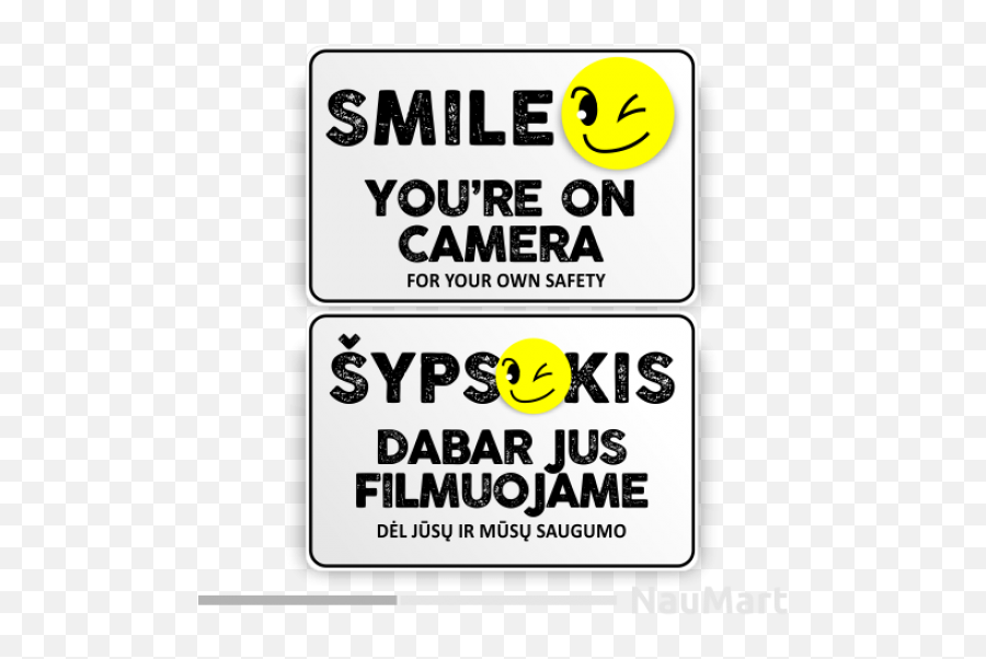 Camera Funny Warning Sign - Smile Emoji