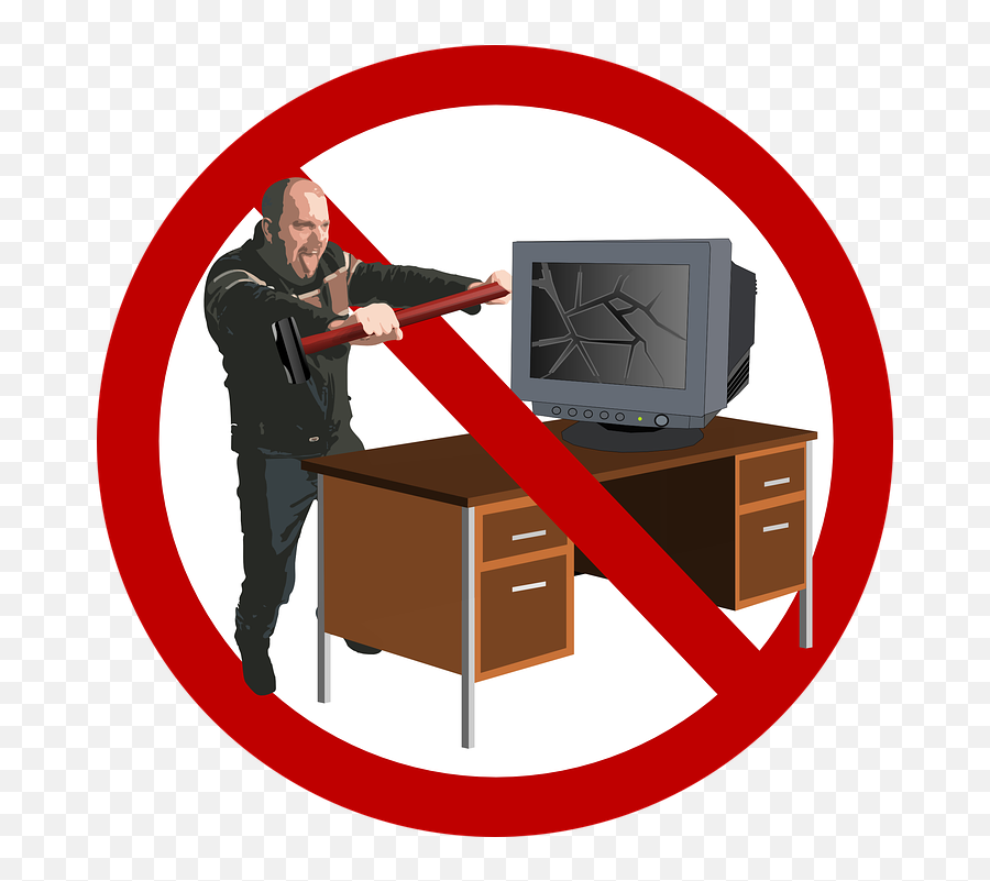Sledgehammer Smash Angry - Nerd At Computer Rage Emoji