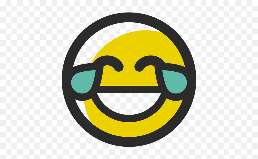 Crying Laughing Colored Stroke Emoticon - Emoji Png Rindo De Chorar,Crying With Laughter Emoji