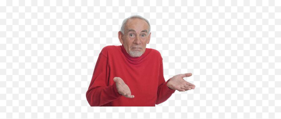 Shrug Emoji Old Man Transparent Png - Shrugging Old Man Meme