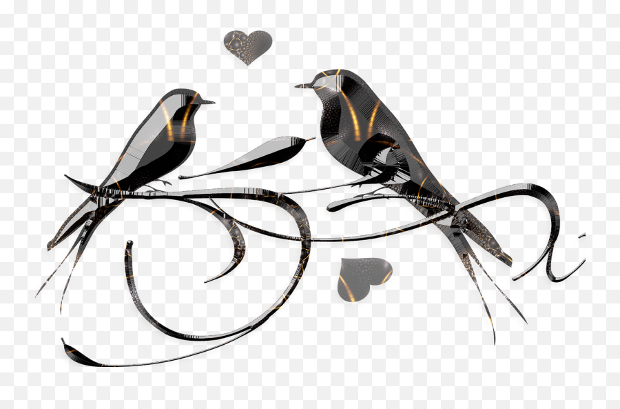 Birds Gothic Style Black Cut Glass Love - Love Bird Gold Png Emoji
