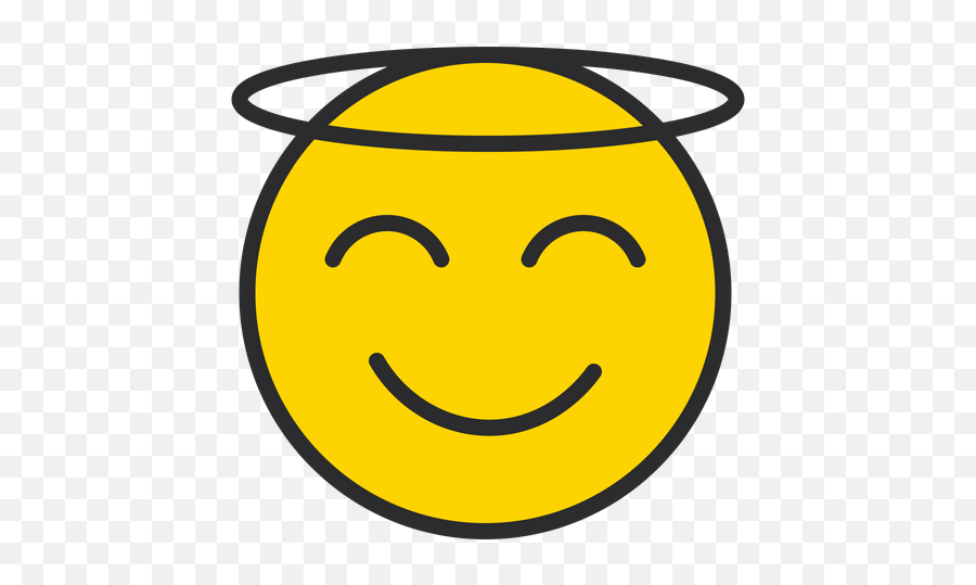Smiling Face With Halo Emoji Icon Of Colored Outline Style - Icon,Zany Emoji
