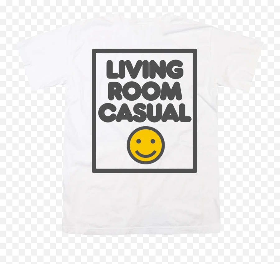 Living Room Casual White T - Smiley Emoji