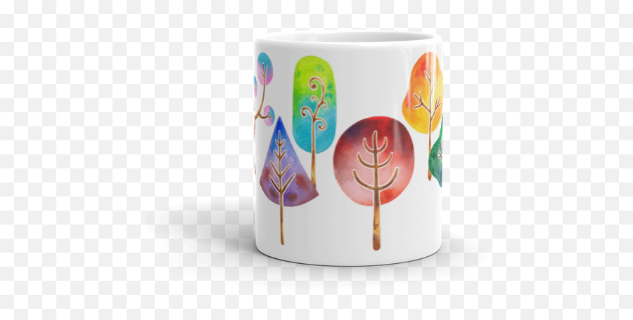 Trees Mug Watercolor Mug Coffee and Tea Mug Nature Mug Watercolor Art Mug Birthday Gift Thank You Gift Kitchen Decor from BeagleCakesArt - Wine Glass Emoji