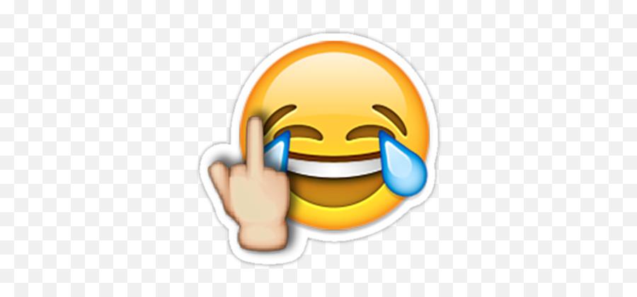 Middle Finger Laughing Emoji Sticker - Laughing Emoji With Middle Finger,Laughing Emoji
