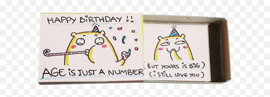 BD030 - Age is just a number Happy Birthday Greeting Card  Cartoon Emoji