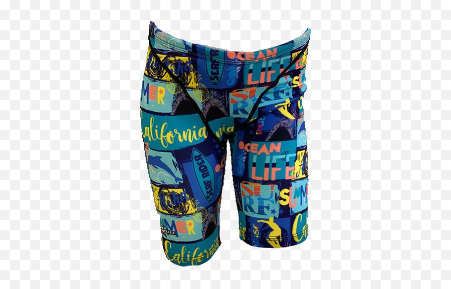 Splitz Jammer Swim Shorts In Blues - Bermuda Shorts Emoji,Shorts Emoji