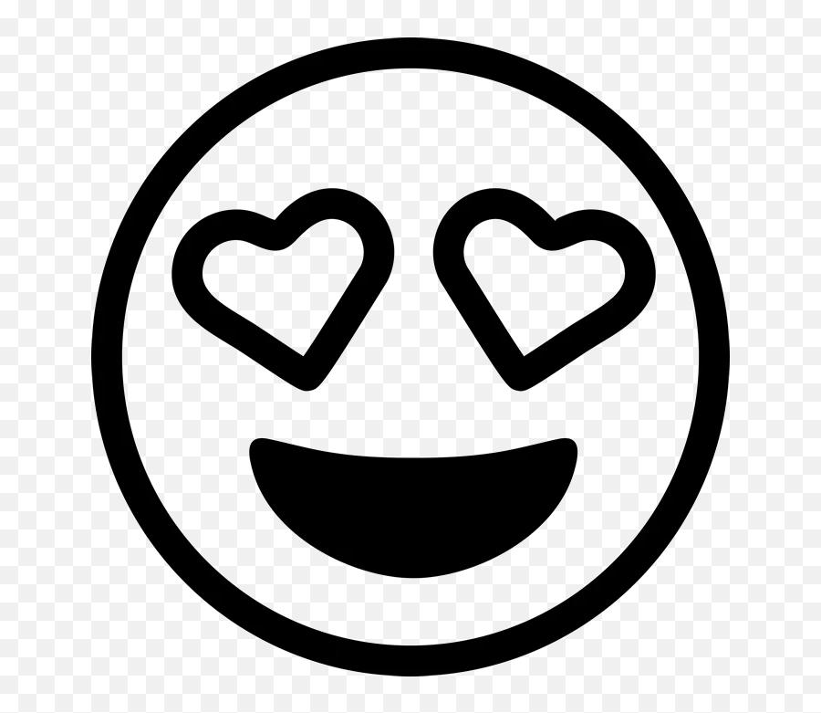 Heart Eyes Emoji Rubber Stamp - Black And White Love Emoji