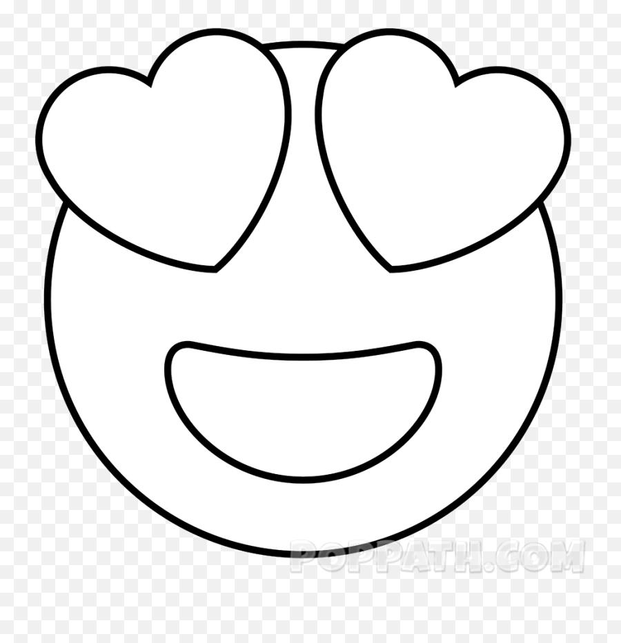 How To Draw A Heart Eyes Emoji - Heart Eyes Emoji Drawing,Eyes Emoji