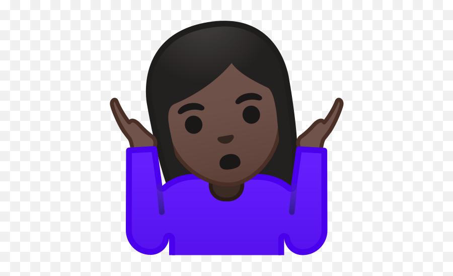 Woman Shrugging Emoji With Dark Skin Tone Meaning - Shrug Emoji Transparent Background