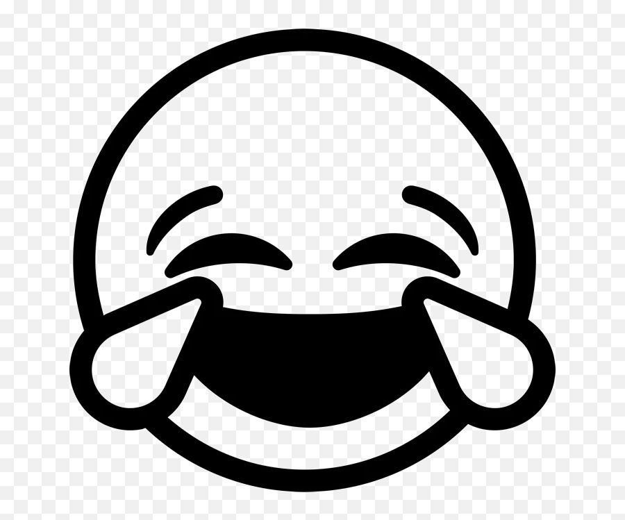 Laughing Tears Emoji Rubber Stamp - Emoji Clipart Black And White,Laughing Emoji