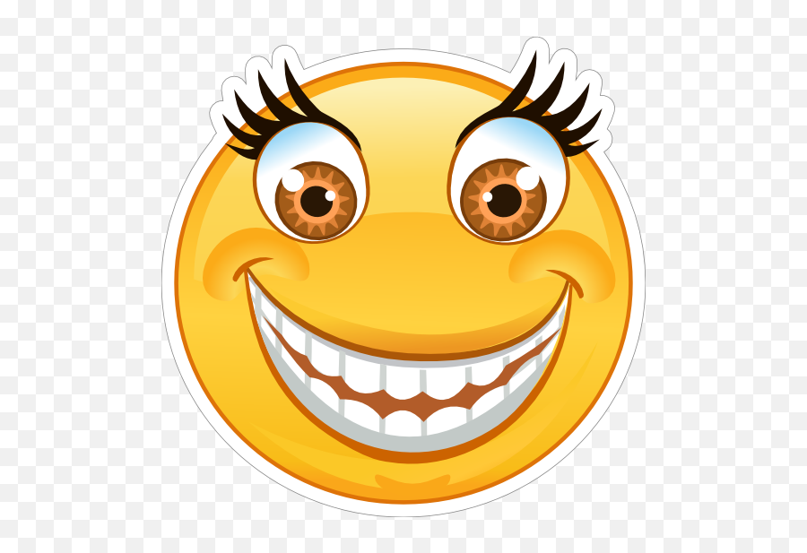 Crazy Wide Eyes Big Smile Emoji Sticker - Crazy Emoji,Eyes Emoji