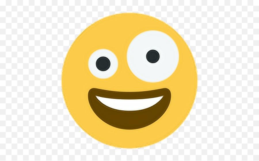 Happy Smile Laugh Eyes Size Silly Emoji Emoticon Face - Zany Face,Silly Emoji