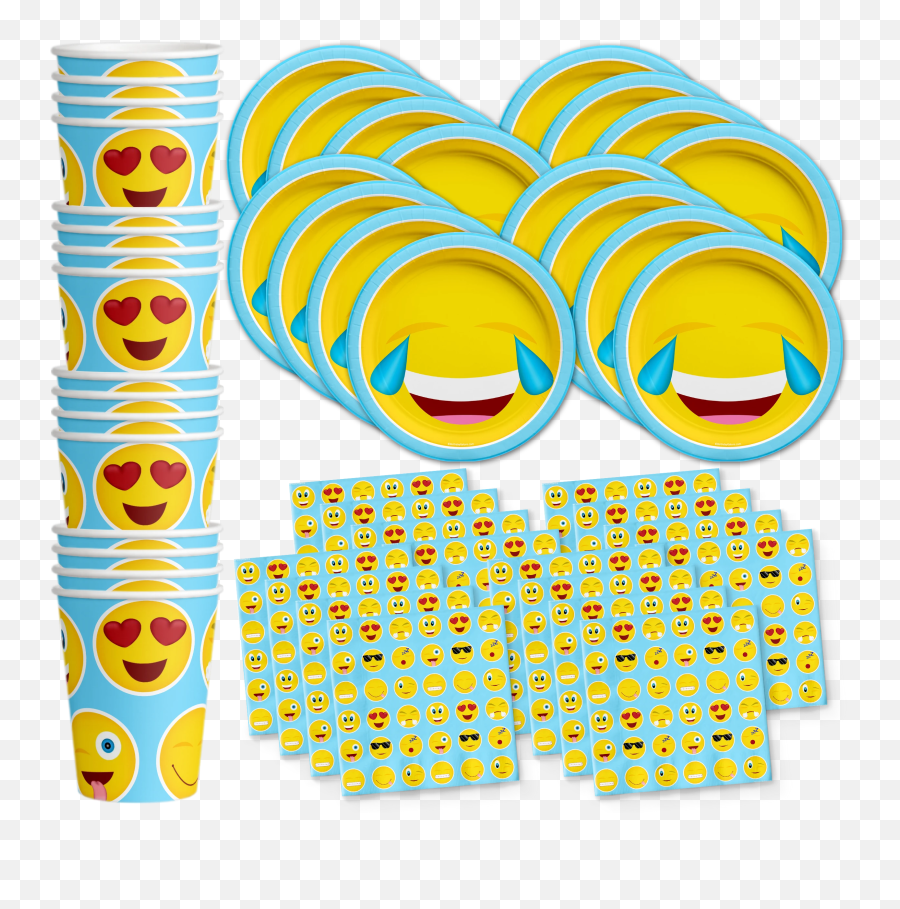 Emoji Birthday Party Tableware Kit For 16 Guests Emoji Birthday Party Tableware Kit For 16 Guests - Clip Art