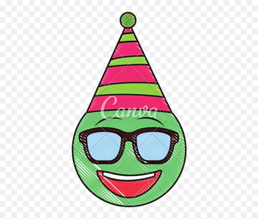 Birthday Emoji With Sunglasses Party Hat Drawing Image - Emoji
