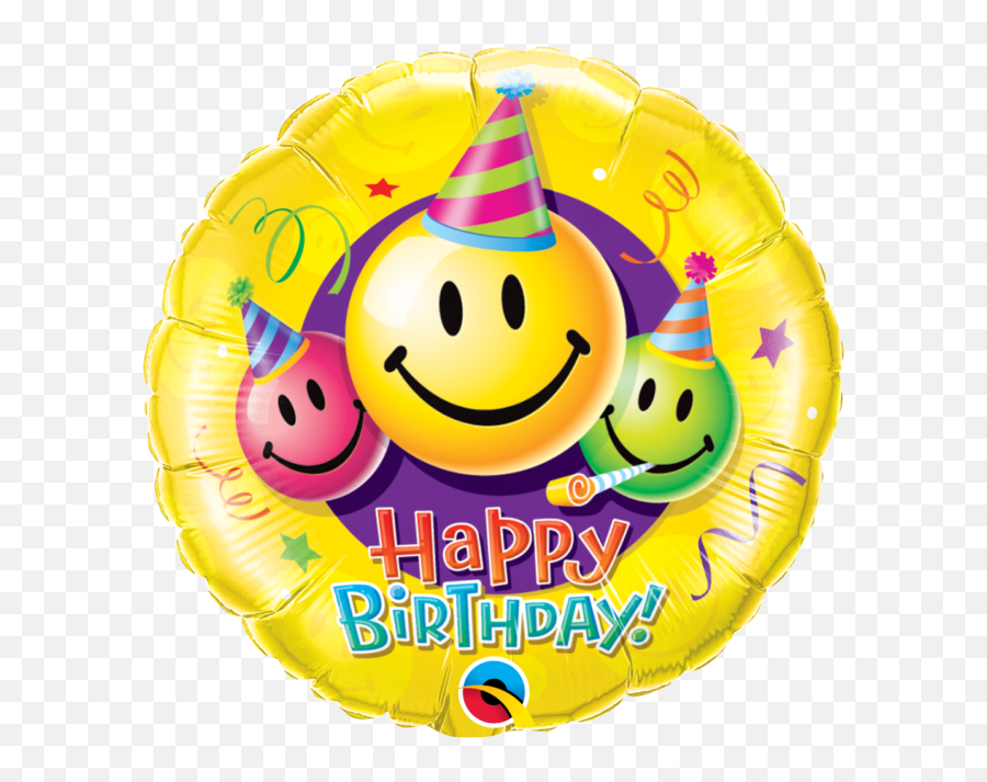 18 Smiley Faces Happy Birthday Mylar Foil Balloon - Happy Birth Day Smiley Face Balloon Emoji