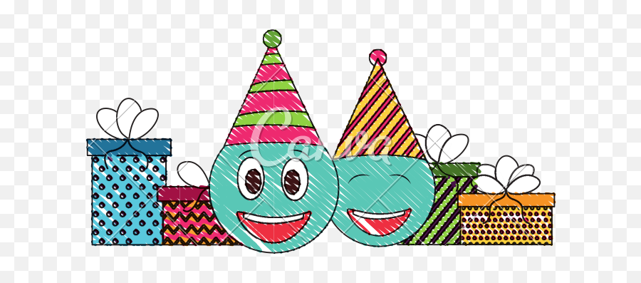 Birthday Emoji Face With Party Hat And Gifts Drawing Color - Party Hat