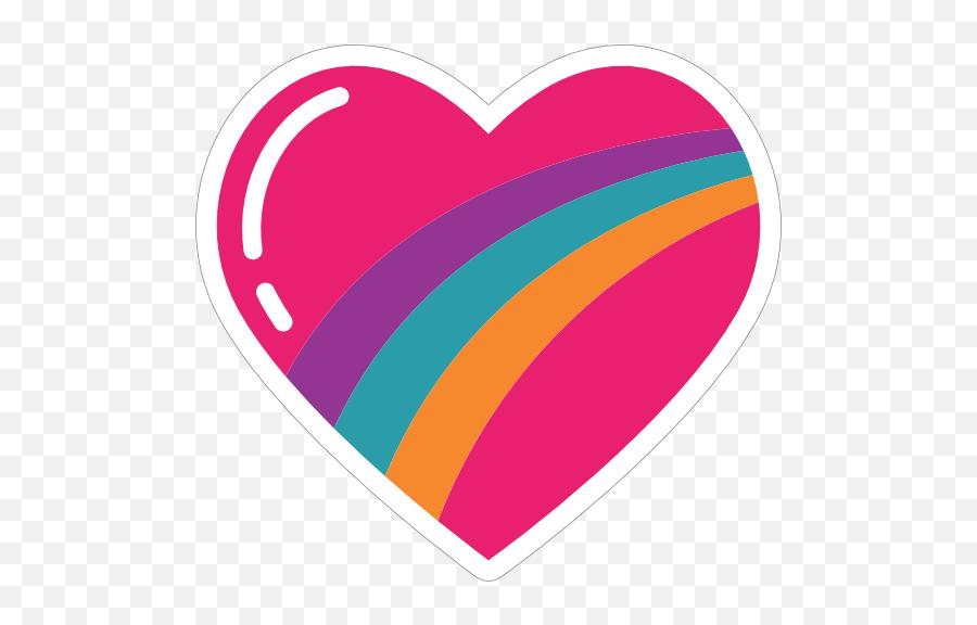 Rainbow Heart Hippie Sticker - Heart Emoji