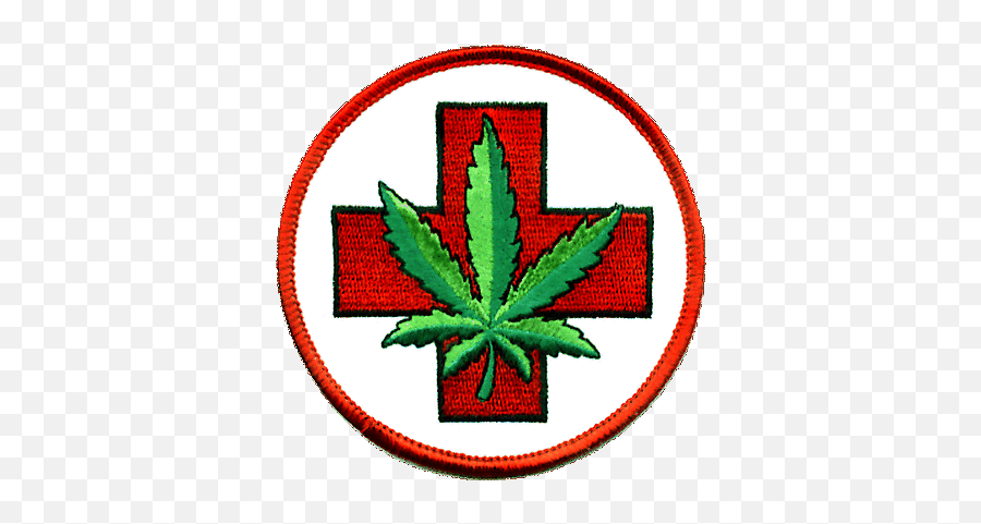 Embroidered Iron On Patch Marijuana Leaf Cannabis Weed Hemp - Medical Cannabis Emoji