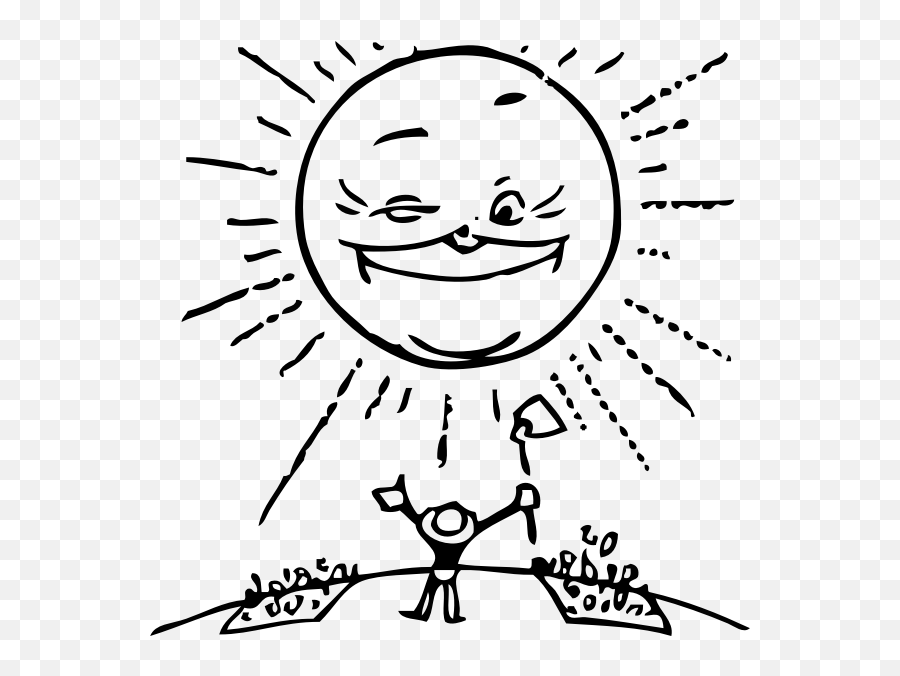 Sun And Farmer - Sunlight Black And White Clipart Emoji