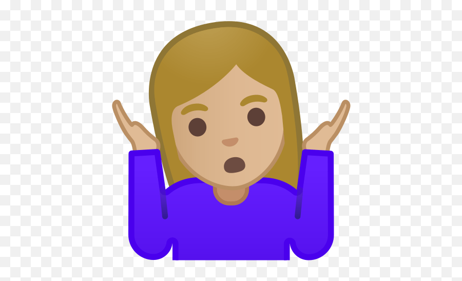 Woman Shrugging Emoji With Medium - Shrug Emoji Transparent Background