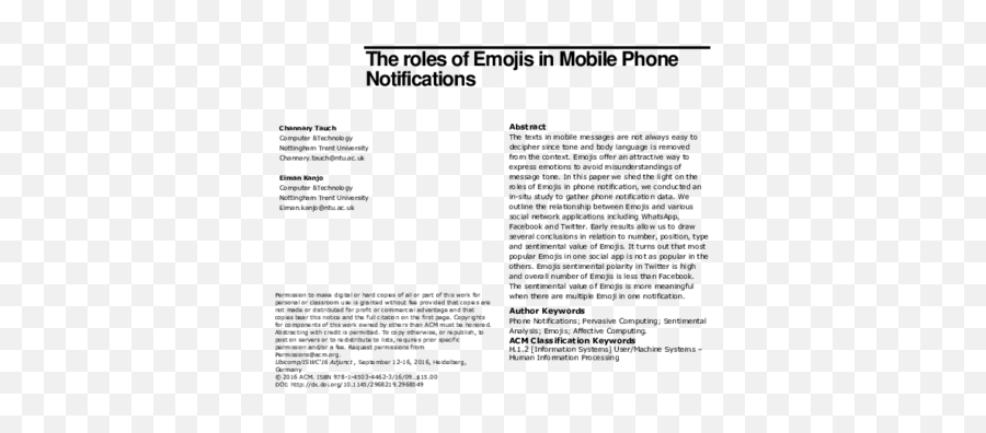 The Roles Of Emojis In Mobile Phone Notifications - Document