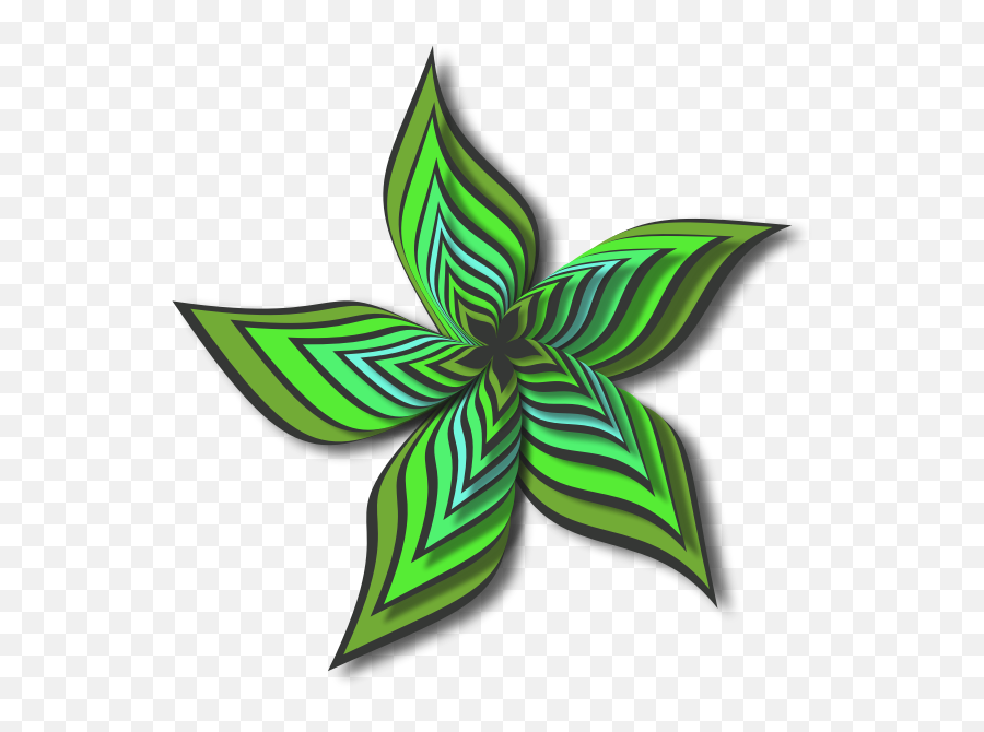 Abstract Flower Shape Green Color - Abstract Flower Art Black And White Emoji