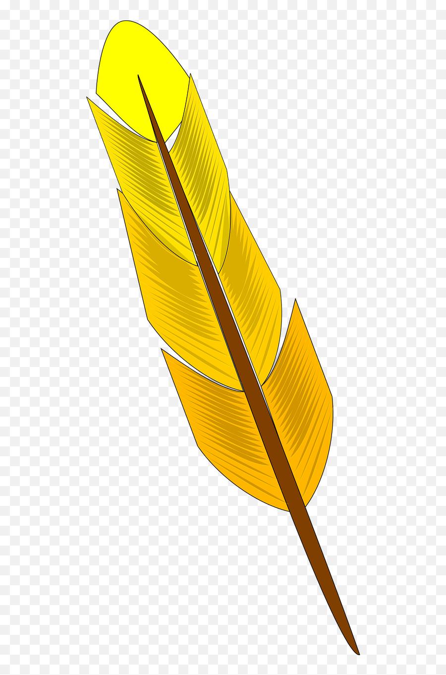 Feather Yellow Bird Animal Write - Clipart Feather Emoji