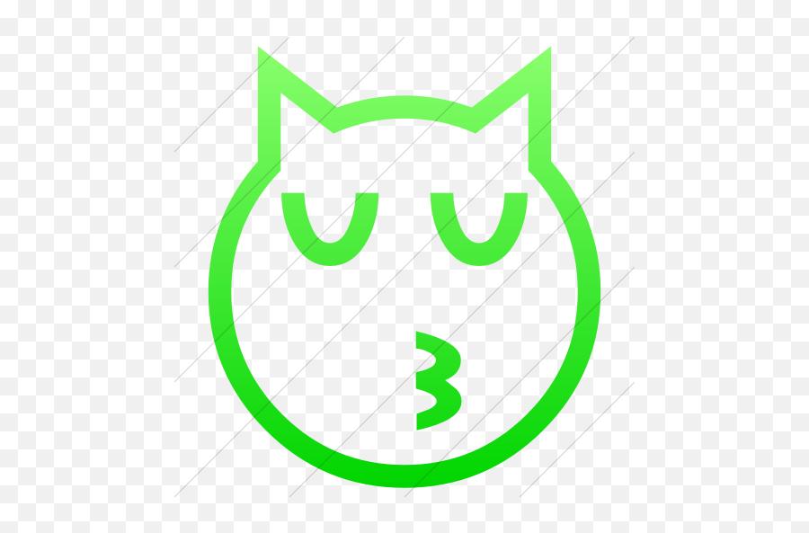 Iconsetc Simple Ios Neon Green Gradient Classic Emoticons - Emoji Domain,Kissing Emoticon