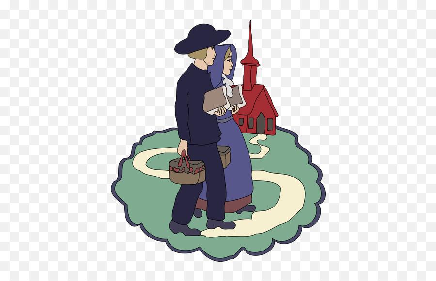 Amish Couple Drawing - Amish Png Emoji,Kissing Emoticon