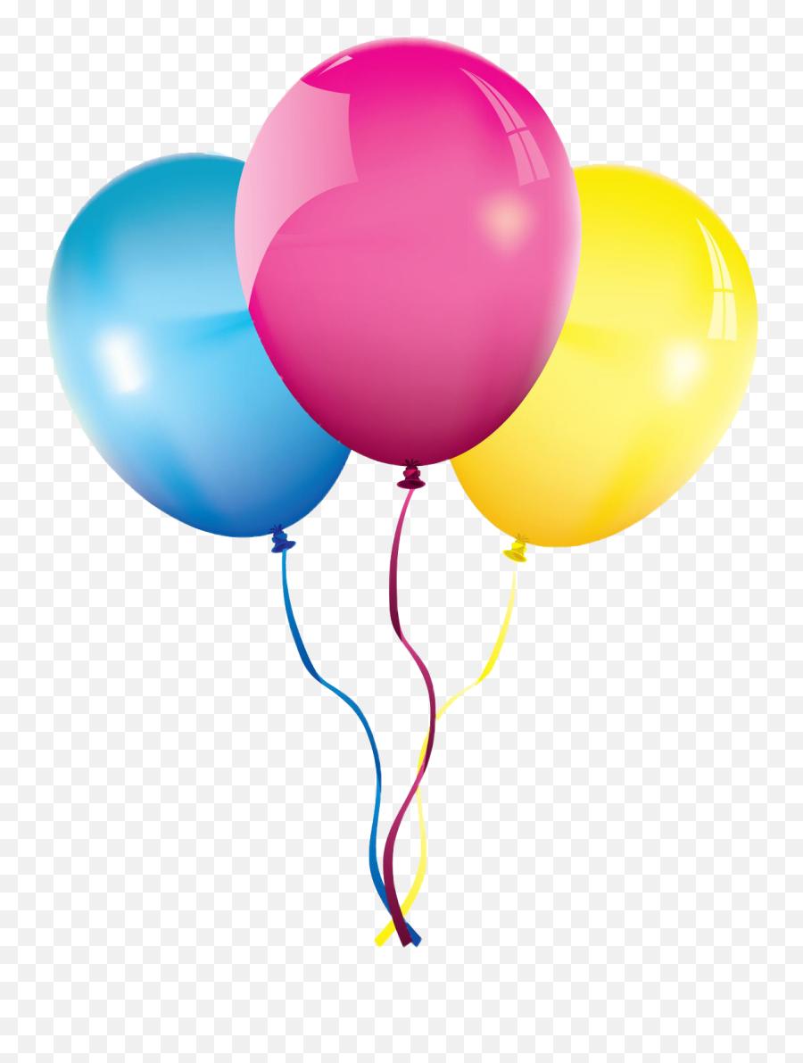 Cute Birthday Balloons Pink Tellow Blue - Balloons Png Emoji