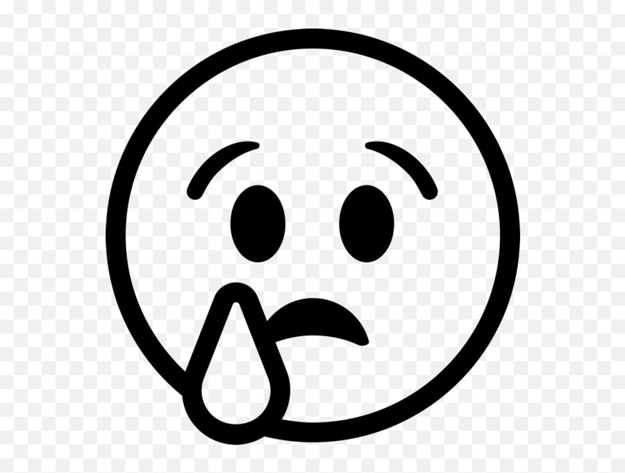 9221 Emoji Free Clipart - Emoji Of Emotions Black And White,Single Tear Emoji
