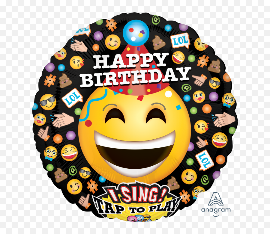 28 Smiling Emojis Bday Singing Balloon - Happy Birthday Cute Smiley