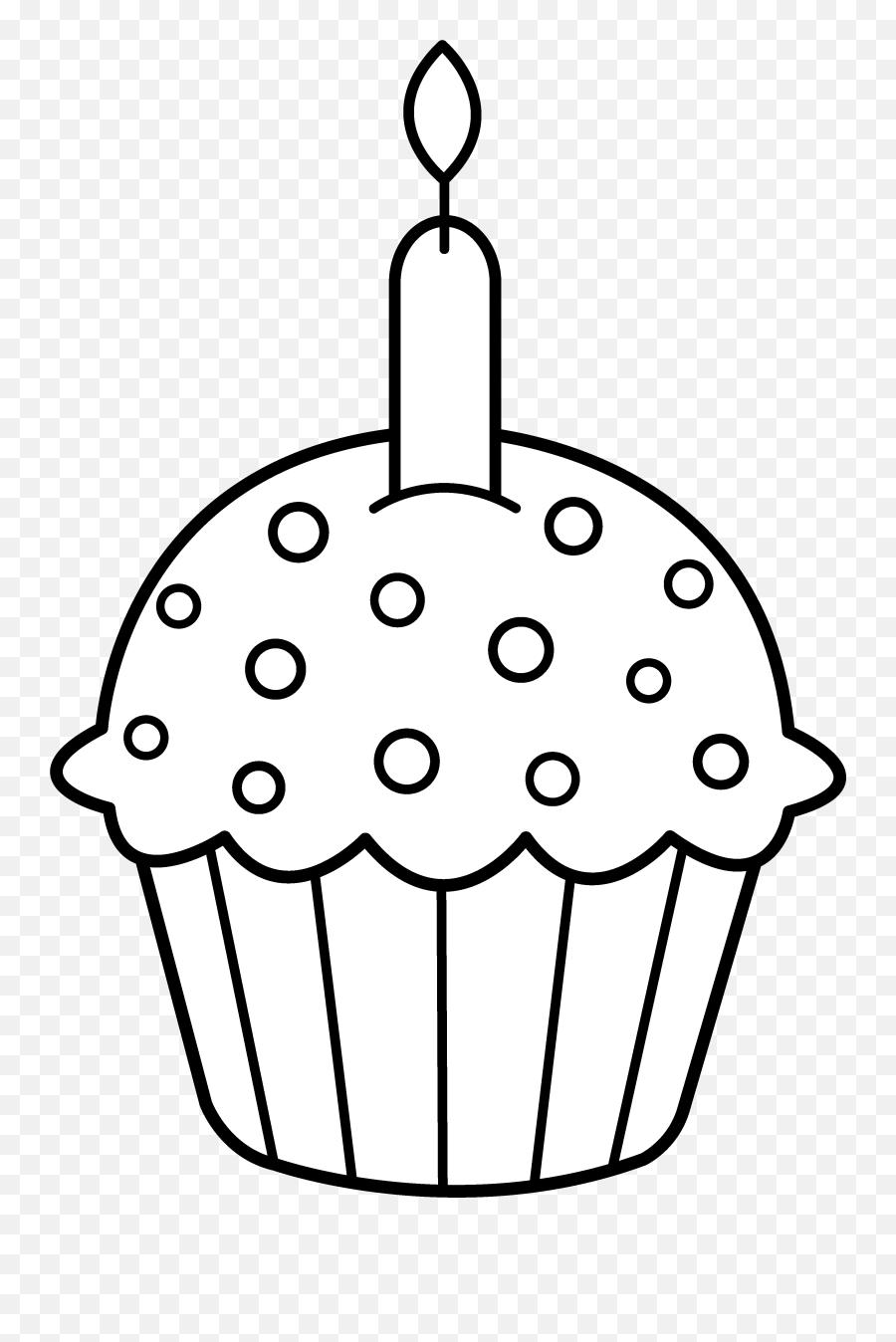Icolor Roundtop Cupcake - Birthday Cupcake Clipart Black And White Emoji