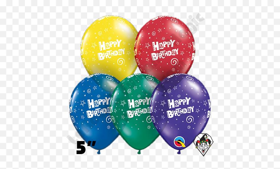 5 Inch Round Assortment Birthday Stars u0026 Swirls Qualatex 100ct - Happy Birthday Qualatex Balloons Stars Emoji