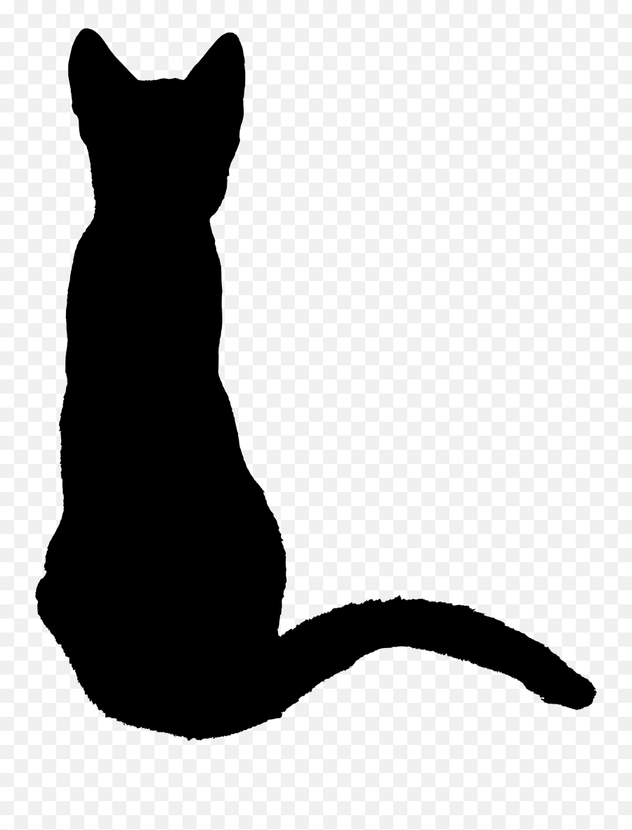 Kitten 1370737 - Black Cat Sitting Silhouette Emoji,Cat Emoticons Text